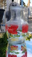 Vintage Anchor Hocking Juice Carafe Pitcher with Red Roses & Yellow Ribbon & Lid