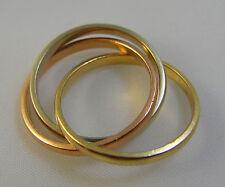 14k Tri-Colored, Three Interlocking 2mm Bands Ring 5 3/4 or 6
