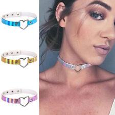 Women Girls PU Leather Laser Rainbow Necklace Hollow-out Heart Chocker Jewelry