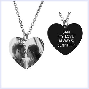 Heart Tag Personalized Photo and Message Engraving Custom Pendant Chain Necklace