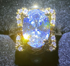 Beautiful Yellow Gold Filled Ring Crystal Diamanté Oval Designer Inspired Size R