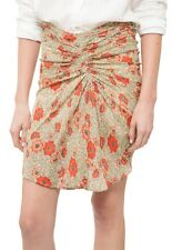 Isabel Marant Étoile Sevan Slavic Floral Poppy Print Ruched Skirt in Beige FR 36