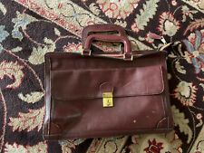 Vintage Burgandy Leather Briefcase - Attache Drop Handles