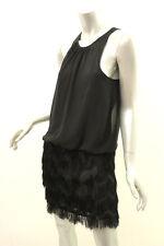 AQUA DRESSES Black Pleated Chiffon Fringe Dress 2