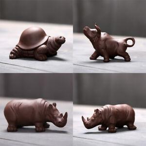 Chinese lovely tea pet yixing zisha purple clay ornament tea play ox turtle new
