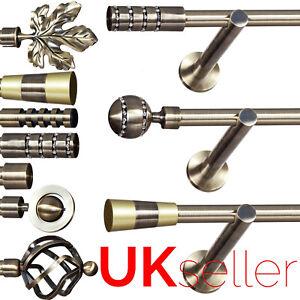 Metal Single Curtain Pole / Rod Set 16mm Antique Brass, Modern Bracket, Bedroom