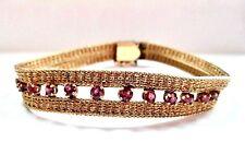 "Statement vintage 14k Yellow Gold Double Strand wheat chain Bracelet w Rubies 7"""