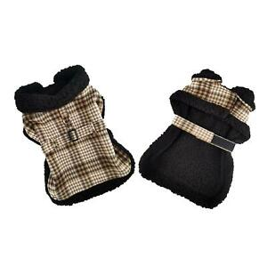 Sherpa-Lined Dog Harness Coat - Brown & White Plaid with Matching Leash XS-2XL