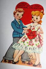 Vtg 1950s Little Boy & Girl Dance Dancing Children's Valentine's Day Card