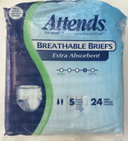 Attends Adult Extra Absorbent Breathable Incontinence Briefs Sz S  Latex Free