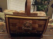 Vintage Fireplace Log Holder Carrier Woven Bent Wood Basket with Federal Eagle