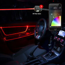 Smartphone BLE app car door panel interior 3LED 6ft fiber optic accent light Kit