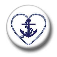 Anchor Love Heart 1 Inch / 25mm Pin Button Badge Tattoo Sailor Navy Vintage Cute