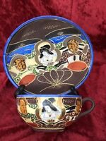 VINTAGE HAND PAINTED JAPAN TEA CUP & SAUCER SET - VERY OLD - GEISHA FACE