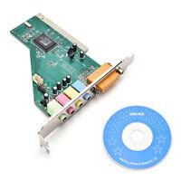 4 Channel 5.1 Surround 3D PCI Sound Audio Card MIDI for PC Windows XP/7/8/10 UK