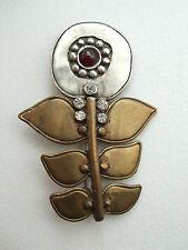 ~ fatto a mano vintage modernist 925 Argento Fiore Pin Spilla, Pietra Rossa