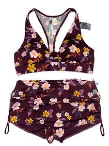 Victorias Secret PINK Gym To Swim Swimsuit Set Bikini Top & Bottom Large Floral
