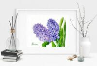 Blue Hyacinths, Watercolor Original, flower, floral, art, spring, botanical