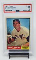1961 Topps #344 LA Dodgers HOF - SANDY KOUFAX Baseball Card PSA 5 EXCELLENT