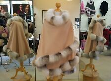Fur Cape Honey Beige Cashmere With Golden Island Fox Trim Beautifully Canadian