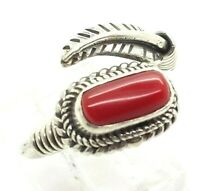 Navajo Coral Feather Sterling Silver 925 Ring 5g Sz.6.5 NEW819