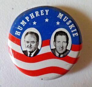 Vintage Humphrey Muskie Political Campaign Pinback Button 1968