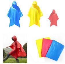 Adult & Kids Rain Poncho Waterproof Plastic Disposable Rain Hat Hood Ladies Mens