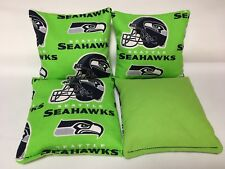 SEATTLE SEAHAWKS 4 CORNHOLE BAGS BAGO BEAN TOSS Print Fronts With Duck Backs G