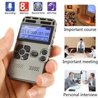 8GB HD Enregistreur vocal Numérique Lecteur Rechargeble Dictaphone MP3 Player BR