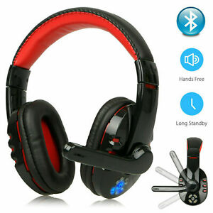 Bluetooth Wireless Gaming Kopfhörer HD Stereo Headset Mikrofon für Laptop PC DHL