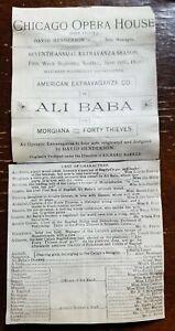 """Edwin"" Eddie Foy ALI BABA Chicago Opera House Jun 25 1893partial playbill"
