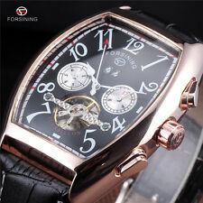 Calendar Forsining Tourbillon Mens Automatic Mechanical Wrist Watch Rectangle