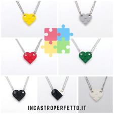 Collana Ciondolo Cuore Separato Lego Nerd Amore Amicizia Fidanzata Moglie Regalo