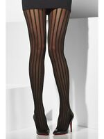 Burlesque Tights Black Striped Ladies Halloween Can Can Fancy Dress