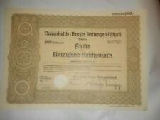 GERMANY: BRAUNKOHLE BENZIN 1000 REICHSMARK STOCK CERT., 1936