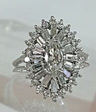 PLATINUM CERTIFIED 1.40CT VINTAGE H/VS SOLITAIRE MARQUISE DIAMOND COCKTAIL RING