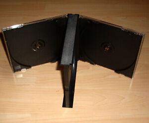 CD Hülle durchsichtig 24mm 2,4 schwarz f.3 CDs DVDs 3fach 3-fach aufklappbar Neu