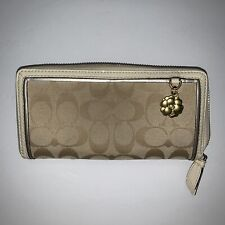 Coach Signature Logo Zip Accordian Long Wallet Ivory