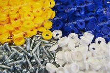 1000 X NUMBER PLATE CAR FIXING FITTING KIT SCREWS BLUE YELLOW WHITE CAPS SCREWS