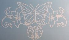 Butterfly Flower Vine White Vinyl Graphic Decal Car Window Sticker Funny Cute