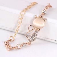 Cat rose gold chain charm crystal rhinestone bangle bracelet gift jewelry S!