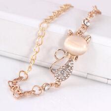 cute cat rose gold chain charm crystal rhinestone bangle bracelet gift jewelry F