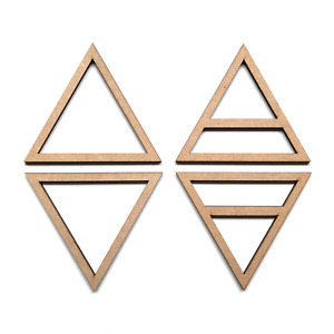 Wooden MDF Earth Water Fire Air Triangle Symbols Shapes Craft Embellishment Sign