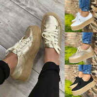 Women's Platform Sneakers Canvas Lace Up High Wedges Fashion Comfort Shoes Size