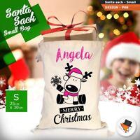 Personalised Christmas Sacks Stocking Cotton Xmas Gift Bag Santa Sack Toy