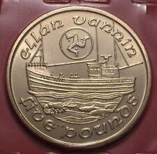 1991 ISLE OF MAN £5 Five Pound Fishing Boat Ellen Vannin BUNC Coin From Set