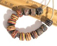 Antique Black Striped Beads Chippy Assortment African Trade Venetian Glass