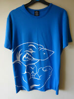 GYMSHARK OFFICIAL BLUE T SHIRT WITH SHARK PRINT PICTURE SIZE SMALL