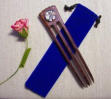 DESIGNS by HELENE ~ Rosewood 3-prong Hairstick w/Lampwork Glass & Crystals!!