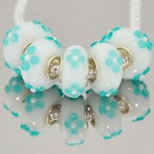 5 x White Blue Flowers Abstact Glass Bracelet Spacer Threader Charm Beads. 2155